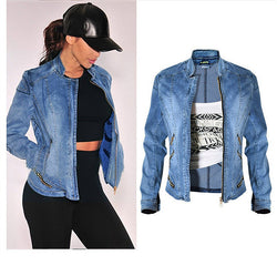 Denim Baseball Jacket!Jeans Top, Denim Jacket, Women Jacket Zipper, Femme, Shirts-TownTiger