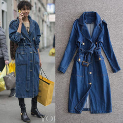 Denim Coat Dress! Coat-Like Dress with Long Sleeve and Belt, Women Denim Dress, Jeans-TownTiger