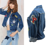 Denim Jacket with Applique ! Jeans Tops, Denim Jacket, Women Jacket Zipper, Femme, Shirts-TownTiger