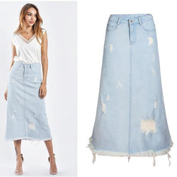 Denim Long Skirt Ripped!Blue Jeans, Denim, Hip-Hugger, Women Jeans, Femme Bottoms, Skirt-TownTiger