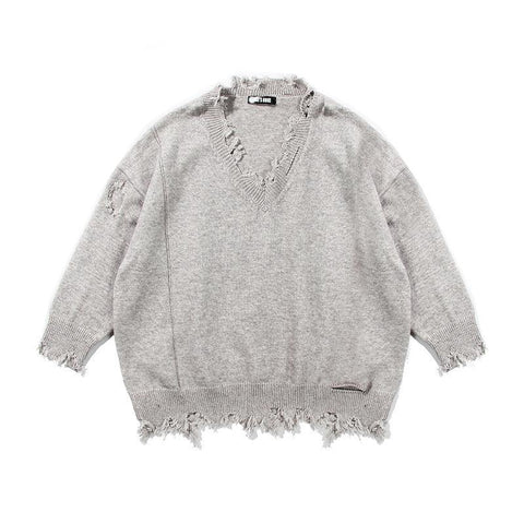 Distressed Oversize! Long Sleeve Loose Fitting Knitting Tops, Women Knitwear 3 Colors-TownTiger