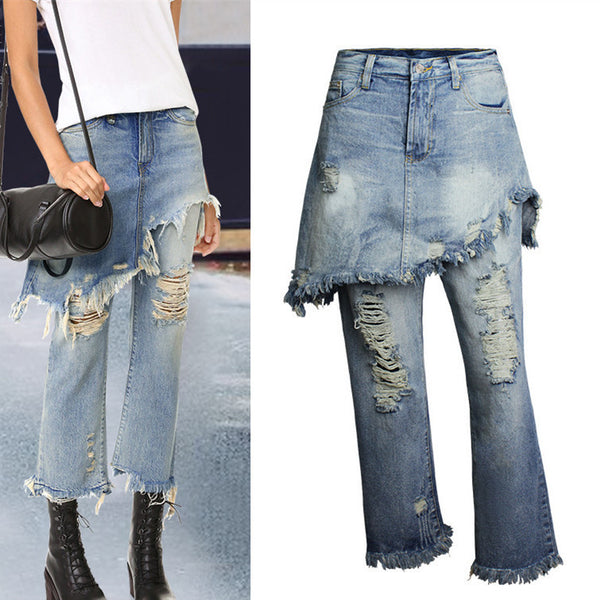 Double Layer!Blue Jeans, Denim Pants+Skirt, Bottoms, Women Jeans, Femme Bottoms, Pants Trousers-TownTiger