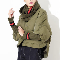 Down Jacket! Down Jacket With Knit Collar and Sleeve, Bomber Jacket Tops Military Style-TownTiger