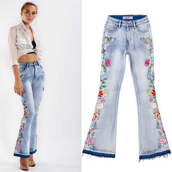 Embroidery Floral Bells! Light Blue Bell-Bottom Jeans, Embroidered Denim, Bottoms, Women Jeans, Femme Bottoms, Pants Trousers-TownTiger