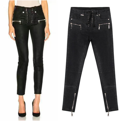 Eyelets!Black Skinny Denim, Bottoms, Women Jeans, Femme Bottoms, Pants Trousers-TownTiger