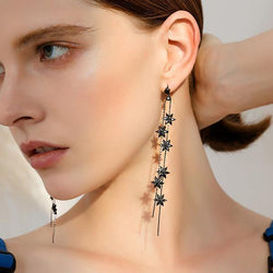 Falling Flowers! Style Black Pendulum Drop Earrings for Women-TownTiger