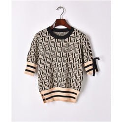 FF! Short Sleeve Knitting Pullover Top, Women Knitwear, Knitting Tops-TownTiger
