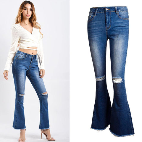 latest discount customers first special section Flare Ripped! Blue Jeans, Denim, Slim Fitting Women Jeans ...