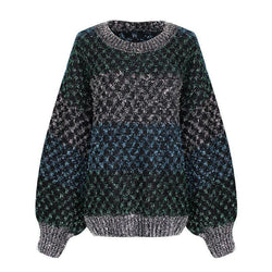 Flicker Sweater! Long Sleeve Knitting Tops, Women Oversized Striped Tops Knitwear, Fall Knit-TownTiger