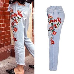 Flowers! Heavy Embroidered Blue Jeans, Ripped Denim, Bottoms, Women Jeans, Femme Bottoms-TownTiger