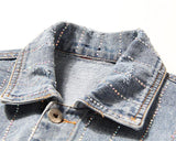 Gem Stripes! Women Jeans Top, Rhinestones Embroidered Denim Jacket, Boyfriend Jacket-TownTiger