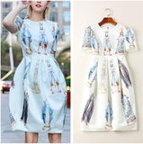 Goddess! Short Sleeve Printed Midi Dress, Women Dress with Goddess Prints, 2019 spring-TownTiger