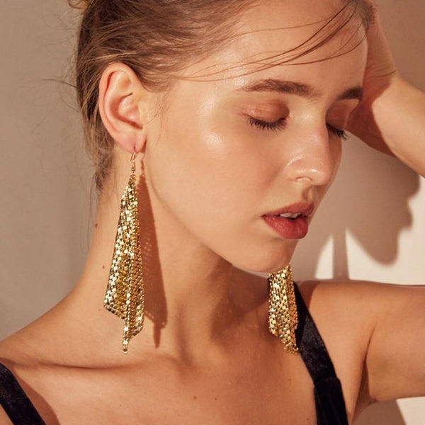 Gold Flick! Style 14kt Yellow Gold Dangle Drop Earrings for Women-TownTiger