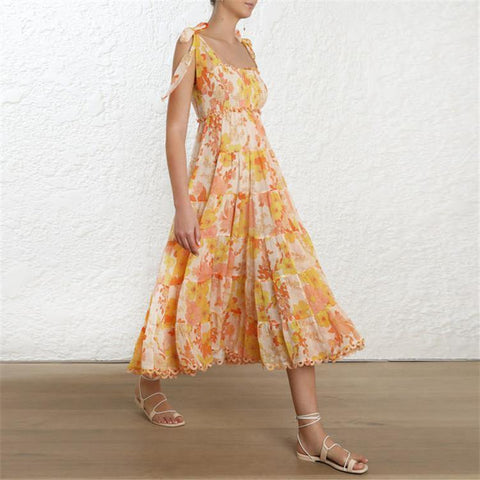 Gold Floral Strap! Sleeveless Printed Chiffon Slip Dresses , Holiday Dresses, High Waisted Dresses Zim 2019-TownTiger