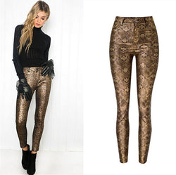 Gold Snake! Skinny Jeans, Denim with Faux Snake Skin Leather, Women Jeans, Leather Jeans-TownTiger