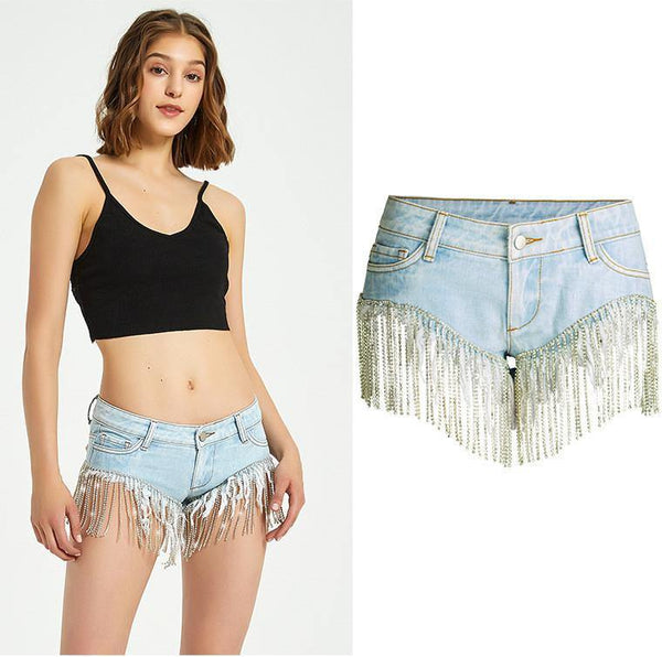 Gold Tassels! Blue Shorts Jeans, Sexy Denim Hot Pants, Bottoms,Femme Bottoms Hot Pants