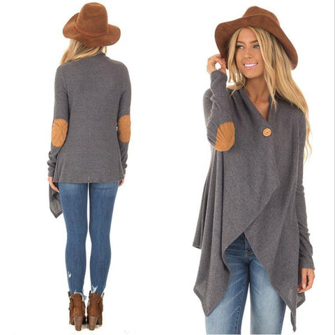 Gray Cardigan! Casual Full Length Sleeve Outfit, With Elbow Patches, Knitted Cardigan-TownTiger