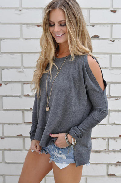 Gray Show-Shoulder! Gray Show-Shoulder Knitted Tops, Long Sleeve T-Shirts for Women, Round Neck, Bottom Sweater-TownTiger