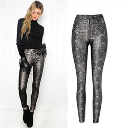Gray Snake! Skinny Jeans, Denim with Faux Snake Skin Leather, Women Jeans, Leather Jeans-TownTiger