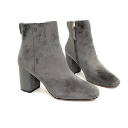 Gray Suede! Chunky High-Heel Oxhide Leather Bootie, Faux Suede, Women Autumn Boot Max&Co-TownTiger