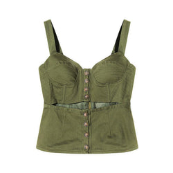Green 3D! Army Green Strap Tank Tops with 3D Silhouette,Boyfriend Style, Street Fashion Tops-TownTiger