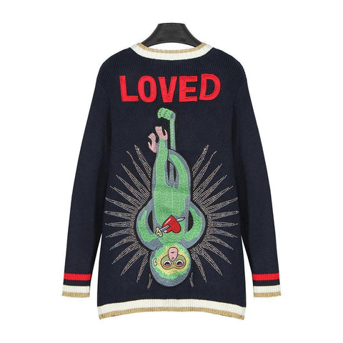Green Monkey Loved! Long Sleeve Knitting Cardigan, Women Tops, Girl's Knitwear, Knit-TownTiger