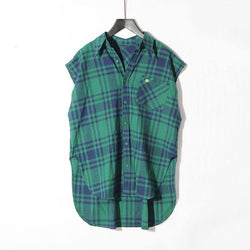 Green Plaid! Sleeveless Plaid Shirt, Women Tops, Women Causal Shirt BB-TownTiger