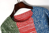 Green Red Blue! Long Sleeve Knitting Pullover Tops, Women Tops, Women Knitwear,Knit Striped-TownTiger