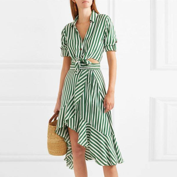 Green Stripes! Striped Dresses , Faux 2-Piece Dress, Shirt Dresses for Women, Stripes 2019-TownTiger