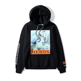 Heron Bird! Long Sleeve Hooded Sweatshirt, Unisex Hoodie, Unisex Sweater Top Heron-TownTiger