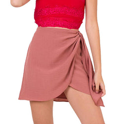 Hot Skirt! Cotton-Linen Mini Skirt, Women Skirt, Pink and Green Available-TownTiger