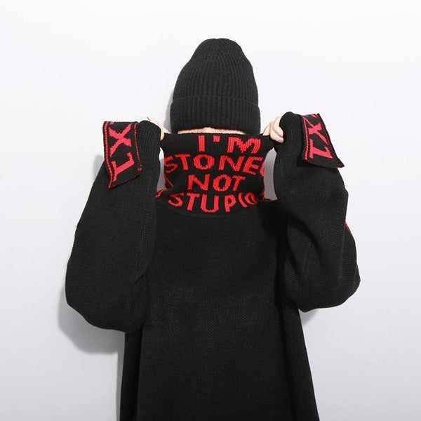 I'm stoned not stupid! Street Style Knit Sweater Tops, Women Top Knitwear, Sweater-TownTiger