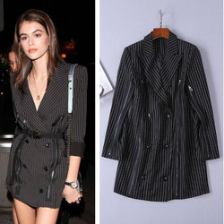Kaia Gerber Striped Blazer! Xenia Pinstripes Zipper Dress, Women Dresses DANIELLE GUIZIO-TownTiger