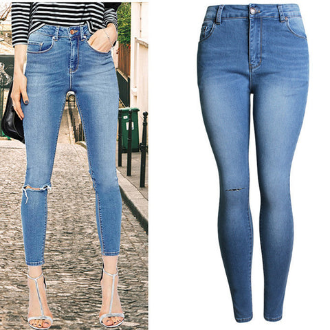 Knee Cutting!Blue Jeans, Denim, Bottoms, Women Jeans, Femme Bottoms, Pencil Trousers-TownTiger