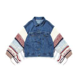 Knit Sleeve! Jeans Top, Loose Fitting Denim Jacket, Women Oversized Jacket Top, Femme-TownTiger