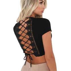 Lace Back! Cropped Laced-Up Top, See Through, Sexy Tops Women-TownTiger