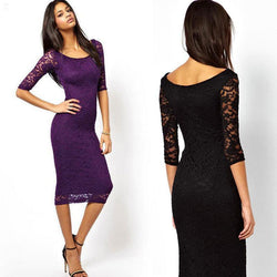 Lace Dress! 3/4 Sleeve Slim Fitting Lace Dress, Women Lace Dress, Purple and Black-TownTiger