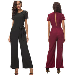 Lace-Sleeve Jumpsuits! Black or Wine Short Sleeve Jumpsuits, Full Length Pant Jumpsuit,-TownTiger