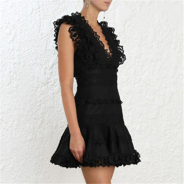 Lace! Sleeveless Lace Dresses , Small Dresses, Black and White Women Dress Summer 2019-TownTiger