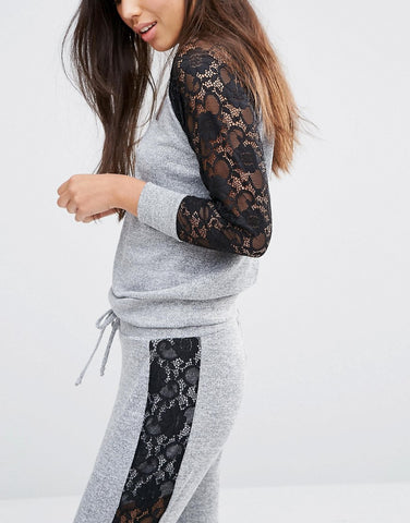 66986c7dee0 Lace Sweater! Two-Piece Sweaters with Lace Trim