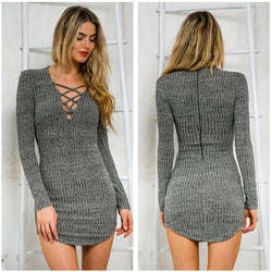 Laced Up! Gray Knitted Dress, With Breast Lace, Hip Hugging Laced-Up Knitwear-TownTiger