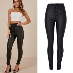 Laced Up PU Crotch! Sexy Matte Leather Skinny Pants, Bottoms, Women Jeans-TownTiger