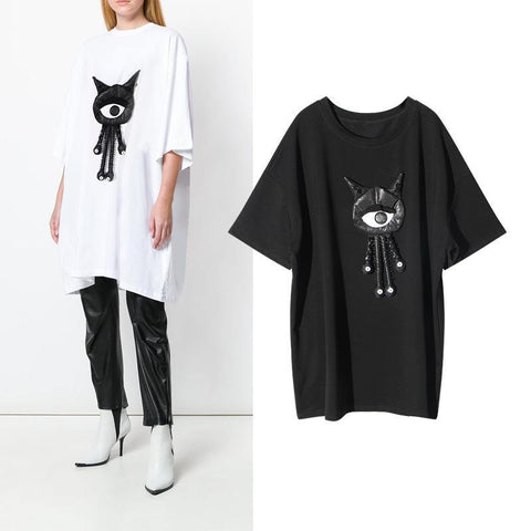 Leather Eyeball! Short Sleeve Loose Fitting T-shirt Dress, Women Tee Dress-TownTiger