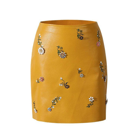 Leather Skirt! Embroidered PU leather Short Skirt With Metal Pedants, Yellow and Black-TownTiger