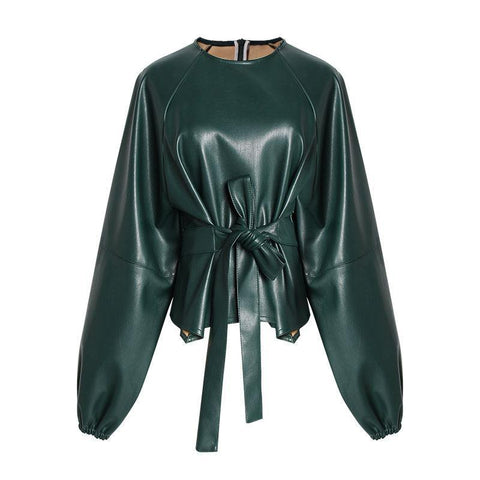 Leather Top! Long Sleeve PU Leather Tops, Women Tops, Fall Tops-TownTiger