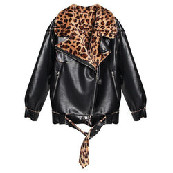 Leopard Leather Jacket! Cool Faux Leather Jacket with Leopard Lining, Women Jacket, Leather Jacket-TownTiger