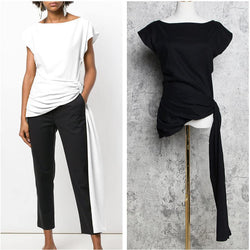 Long Ribbon! Solid Color Silky White Black Tops Shirt, Women Tee Shirts, Women Blouse Tops-TownTiger