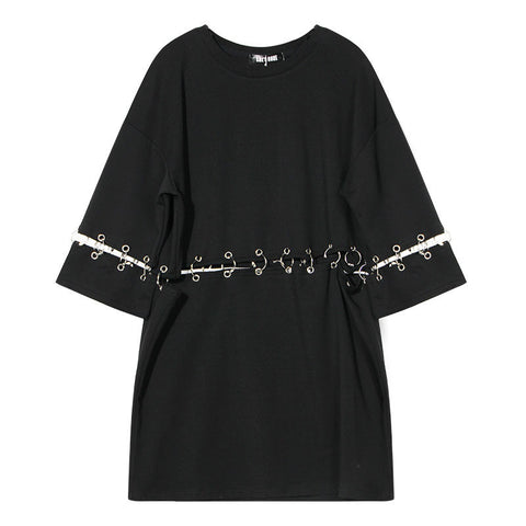 Metal Gate Rings!Short Sleeve T-shirt Dress Connected with Rings , Women Tops, Cool Tees-TownTiger
