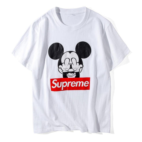 Mickey's Middle Finger Supreme! Short Sleeve T-shirt, Unisex Tees, Couple's T-shirt, Street Fashion Tee Shirt-TownTiger