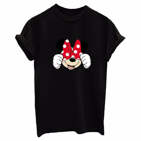 Minnie Mouse Red Hairtie!Short Sleeve T-shirt, Women Tops, Girl's T-shirt, Tee-TownTiger
